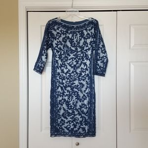 Tadashi Shoji blue lace dress,  size 6 EUC